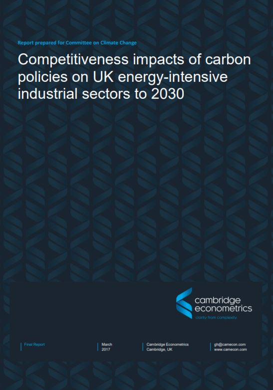 Competitiveness impacts of carbon policies on UK energy-intensive industrial sectors to 2030